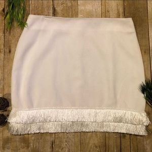 Off white fringe hem pencil skirt